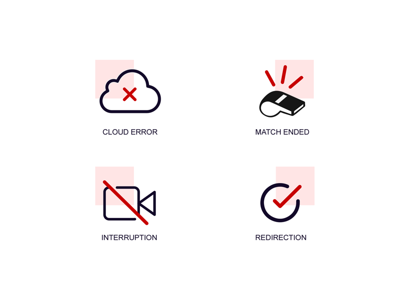 Live video streaming icons redirection interruption cloud icon play match video streaming live
