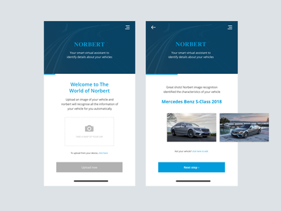 Norbert | Virtual Assistant steps car app vehicle ui app mobile image recognition image smart virtual assistant norbert