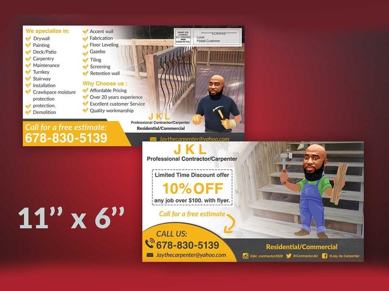 Carpenter service #EDDM Postcard design