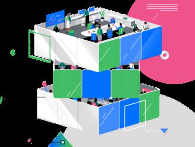 IBM x NYT geometric tech design futuristic workplace advertising technology isometric limited palette melbourne art direction graphic design branding jasonsolo vector illustration