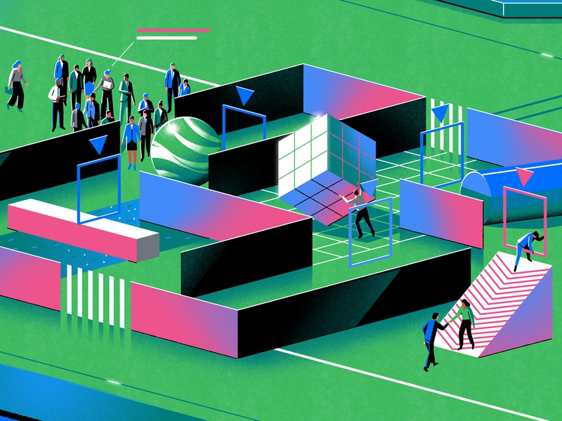 IBM x NYT workplace tech isometric maze futuristic melbourne limited palette editorial art direction graphic design branding jasonsolo vector illustration