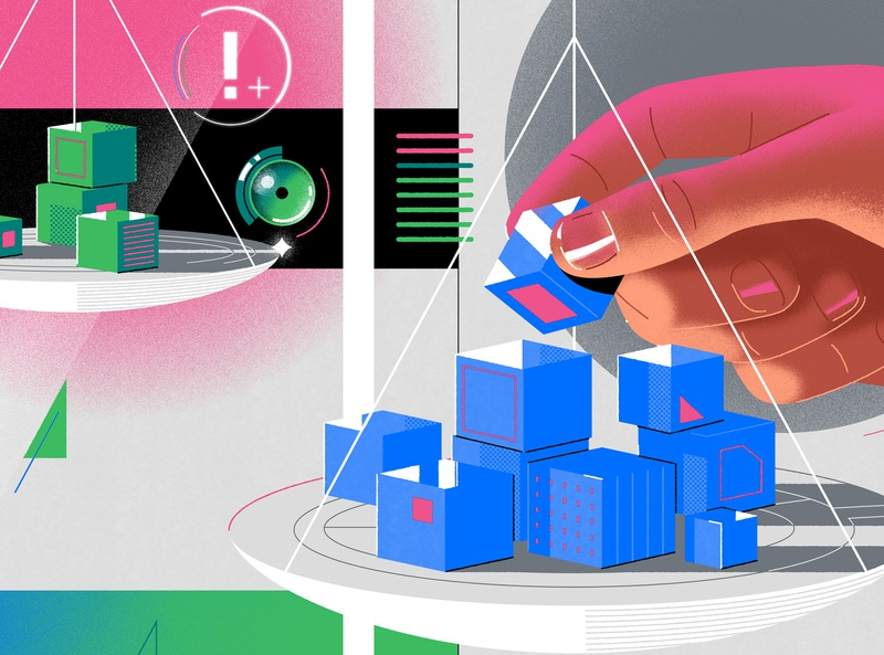IBM x NYT tech artificial intelligence workplace hands isometric futuristic design melbourne editorial limited palette art direction graphic design branding jasonsolo vector illustration