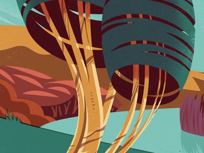 Vector Landscape stylised jasonsolo trees vector illustration landscape