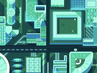 Cincinnati Circuit Board graphicdesign circuitboard cityscape jackywinter vector jasonsolo tech industry illustration editorial
