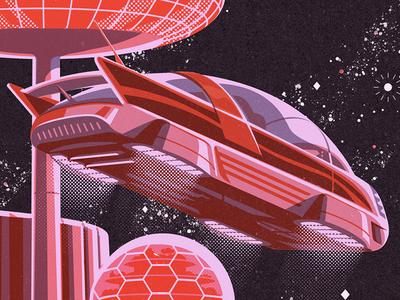 Syzygy Brand Poster Details limited palette graphic design jason solo poster branding transportation concept design science fiction science illustration vector