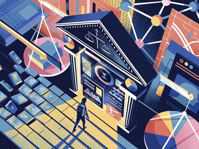 The Economist  Future Of Law melbourne colour jason solo law futuristic perspective vector editorial illustration