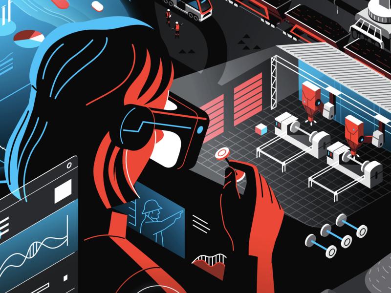 Future Industrial Tech robots graphic design futuristic technology virtualreality vr ui colourful limited palette art direction graphic design science editorial branding vector jasonsolo illustration