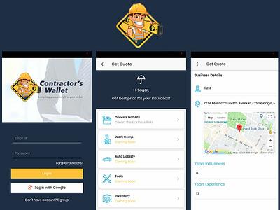 Contractor Wallet App ui design app