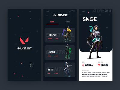 Valorant App UI game art gui game ui valorant splash redesign design ui