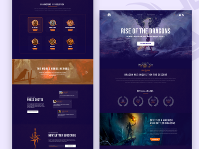 Dragon Age - Game Website game design lol dota game website game branding redesign design ui