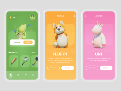 Party Animal - Game UI Concept party animal game design game art game splash screen flat illustration redesign design ui