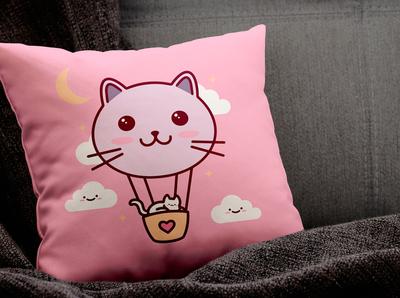 Cat Balloon T-shirt Design