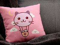 Cat Balloon T-shirt Design Template