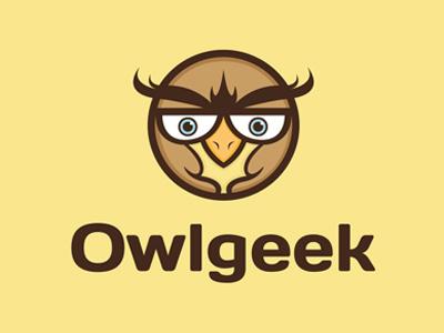 Owl Geek Logo app bird business cartoons owl character owl identity children owl logo creative geek geeky glasses logo mark logotype illustrative logo kids knowledge mascot media nerd nerdy owl professional school smart social studio unique wisdom wise