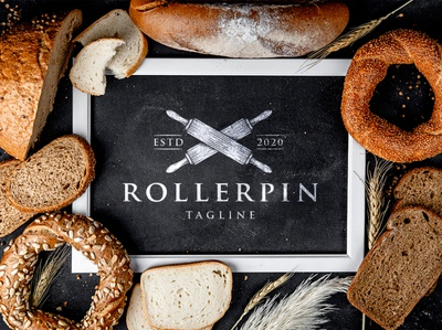 Cooking Roller Pin Logo Template pastry delivery bakeries cooking school bread store hand drawn logotype italian food traditional food restaurant pizza shop bakery shop bakery logo cooking cook stock logo clean design vector branding brand identity logo design logo template