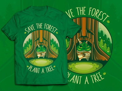 Save the Forest - Plant a Tree (Zelda T-shirt) save the planet teepublic redbubble link apparel merch video games gaming game t-shirt shirt nintendo switch nintendo the legend of zelda zelda deku tree tree plant illustration vector