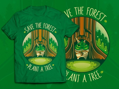 Save the Forest - Plant a Tree (Zelda T-shirt) save the planet teepublic redbubble link apparel merch video games gaming game t-shirt shirt nintendo switch nintendo the legend of zelda zelda deku tree tree plant illustration vector