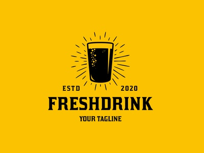 Fresh Drink Glass Logo Template fresh drink hops brewery logo craft beer brewing company retro logo emblem logo vintage logo hand drawn beer art beer branding beer logotype monochrome clean design vector brand identity logo design creative design logo template