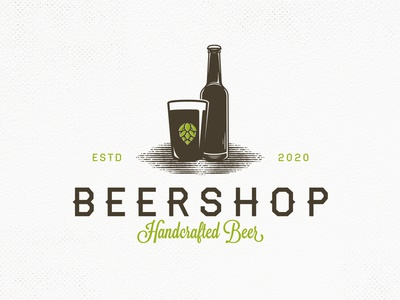 Beer Shop Vector Logo Template craft beer brewing company brewery logo beer branding beer bottle beer art beer creative market editable logo retro logo vintage logo crest logo emblem logo freelance logo designer vector branding brand identity logo design creative design logo template
