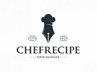 Food Recipes Blog Logo Template restaurant logo recipes blog gourmet gastronomic critic critique cooking cook influencer blogger bistro food ink pen chef hat clean design vector branding brand identity logo design creative design logo template