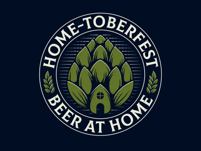 Home-toberfest T-shirt Design t-shirt design clothing design apparel design hand drawn wheat hop badge design emblem design house oktoberfest stay home beer label beer art beer redbubble threadless creative design logo design illustration vector