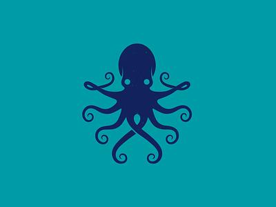 Blue Octopus Animal Logo Template marine creative market squid hand drawn sea food ocean kraken animal retro logo vintage logo logo octopus stock logo freelance logo designer clean design vector branding brand identity logo design logo template