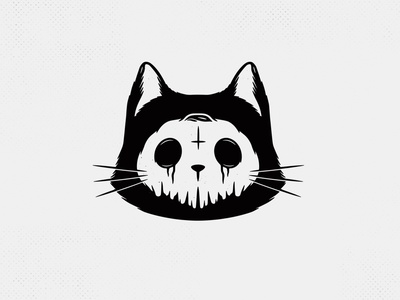 Skull Cat Halloween Logo Template creativemarket death tattoo design artwork animal logo creepy spooky terror horror skeleton skull kitten kitty cat halloween vector brand identity branding logo design logo template
