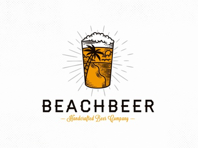 Fresh Beer Summer Logo Template vintage logo drink hand drawn logo beach beer art palm beer summer sun restaurant illustrative logotype freelance logo designer illustration vector branding creative design brand identity logo design logo template stock logo