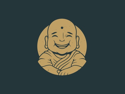 Smile Monk Vector Logo Template vintage logo negative space peace monk meditation relax religion god happy smile buddhist buddhism buddha freelance logo designer vector branding creative design brand identity logo design logo template