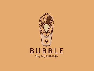 Bubble Waffle Logo Template yummy food editable logo creative market heart love chocolate sweet waffle cone waffle ice cream icecream illustrative logotype illustration vector branding creative design brand identity logo design logo template