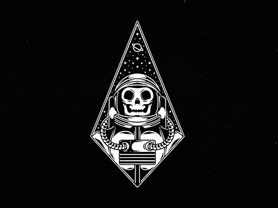 Astronaut Skull Space Logo Template negative space logo skeleton skull stars universe galaxy cosmonaut astronaut space planet freelance logo designer illustration clean design vector branding creative design brand identity logo design stock logo logo template