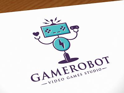 Robot Game Logo robot game logo design illustration brand indentity logotype controller buttons creative video game gaming