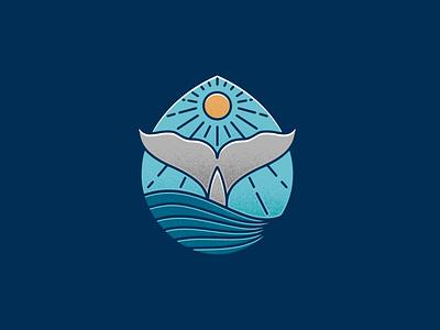 Blue Whale Colorful Logo Template line art logo stipple stippling vintage logo ocean sun drop water animal blue whale whale illustrative logotype freelance logo designer vector branding creative design brand identity logo design stock logo logo template