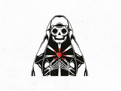 Death Dealer Love Logo Template supernatural hand drawn tattoo design tattoo art bones skeleton grim reaper halloween skull vintage logo heart dead death logotype illustration freelance logo designer vector logo design stock logo logo template