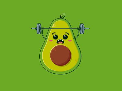 Healthy Avocado Gym Logo Template kawaii art mascot logo vegan vegetable fruit exercise workout keto diet diet food restaurant logotype illustrative logo clean design vector branding creative design brand identity logo design logo template