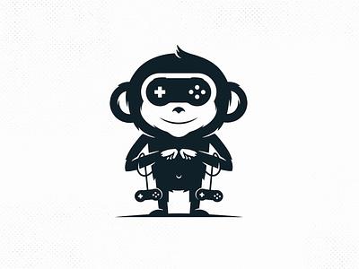 Monkey Games Vector Logo Template clever logo chimpanzee gamer logo e-sports chimp monkey geeky geek video games gaming negative space freelance logo designer clean design vector branding creative design brand identity logo design stock logo logo template