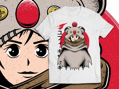 Yuffie Moogle Cape Final Fantasy T-shirt japanese art final fantasy vii ff7 console rpg play final fantasy vintage design fanart shirt design t-shirt design tee design clothing design merch gamer video games gaming game illustration design