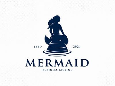 Beatiful Mermaid Vector Logo Template sea animal fish beauty hand drawn logotype monochrome logo marine water ocean woman girl mermaid logo vector branding creative design brand identity logo design stock logo logo template