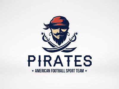Pirate Sword Logo pirate blackbeard sport team logo identity sword football raider piracy caribbean buccaneer