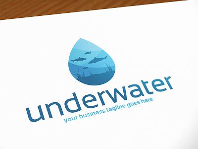Underwater World  Logo Template ocean logo design stock logo logo template dolphin fish shark water drop underwater aquatic life aquarium aqua marine