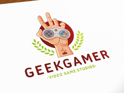 Geek Game Logo Template royalty free logo illustrative logo stock logo logo template crest logo indie games controler console gaming video game studio hand geek