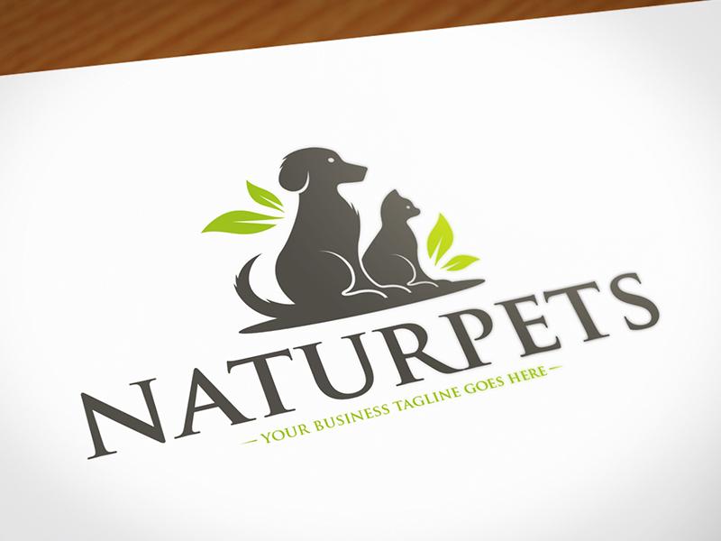 Nature Pets Logo Design animal lover veterinary stock logo brand identity logo template animal care paw nature leafs cat dog pets