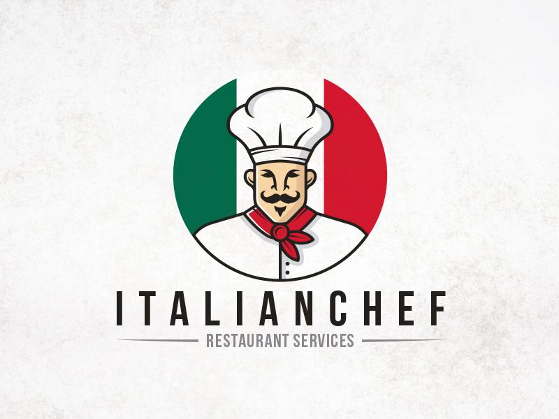Italian Restaurant Logo With Flag: Italian Chef Mascot Logo By Alberto Bernabe