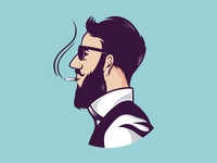 Hipster Smoking Logo Template