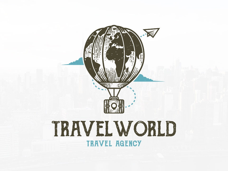 Travel World Agency Logo voyage travel agency globe freelance logo designer locator pin map world hot air ballon travel suitcase paper plane around the world air balloon vintage logotype branding logo design illustration brand identity creative design stock logo logo template