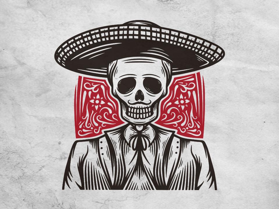 Skull Mariachi Logo Template vector logo design sugar skull cinco de mayo calavera calaca restaurant mexican food dia de los muertos dia de muertos day of the dead skull mariachi mexican clean design illustrative logotype brand identity illustration creative design stock logo logo template