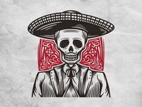 Skull Mariachi Logo Template