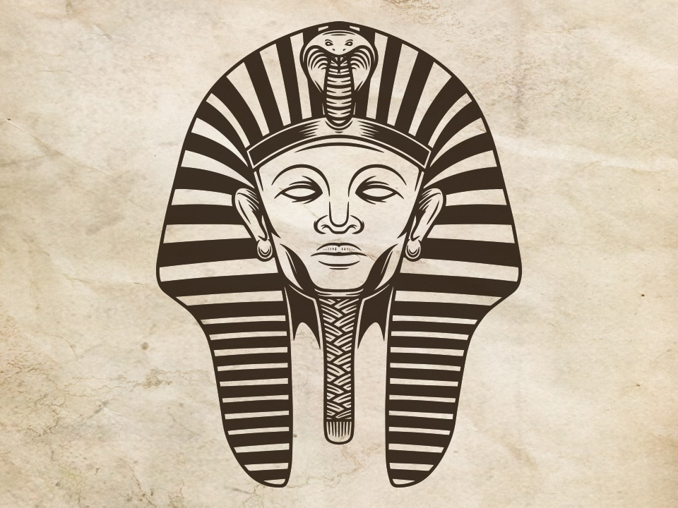 Pharaoh Face Logo Template cleopatra freelance logo designer egypt mum ancient civilization pyramids egyptian king mummy snake cobra human face pharaoh egyptian vector illustration illustrative logotype branding brand identity creative design stock logo logo template