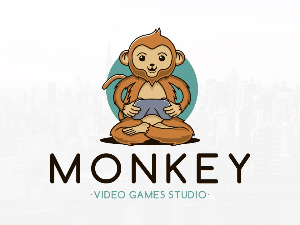 Monkey Gamer Logo Template condole controller nerd geek kids cute character design mascot gaming gamer video games ape monkey graphicriver freelance logo designer vector illustration illustrative logotype brand identity creative design stock logo logo template