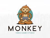 Monkey Gamer Logo Template